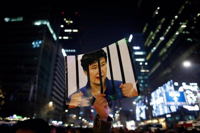 Manifestación contra la presidenta Park Geun Hye