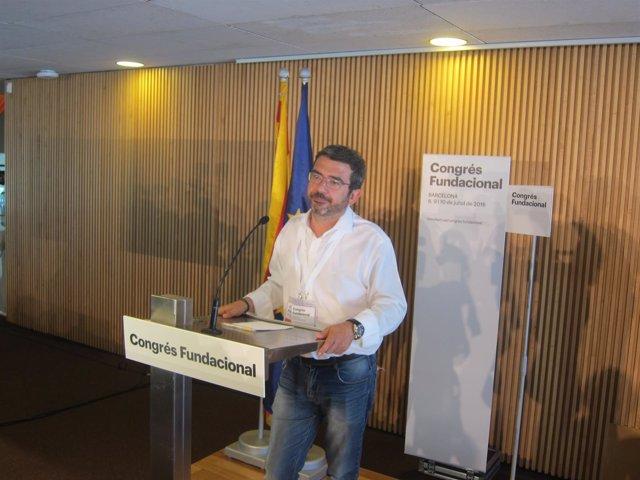 Francesc Sánchez, en rueda de prensa en el congreso de CDC