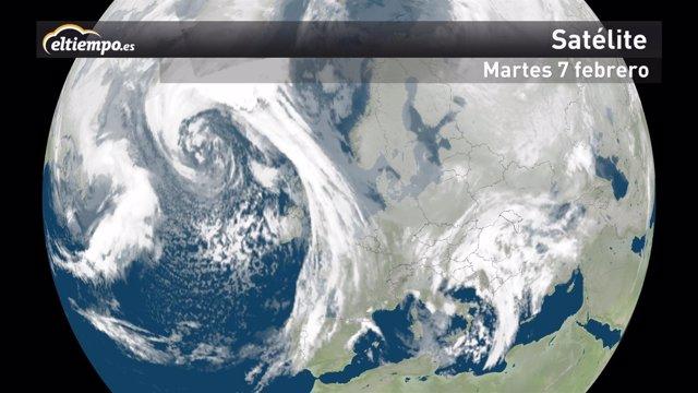 Borrasca en el Atlántico Norte con vientos huracanados