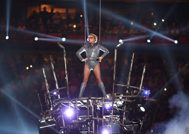 HOUSTON, TX - FEBRUARY 5: Lady Gaga performs on the halftime show at Super Bowl
