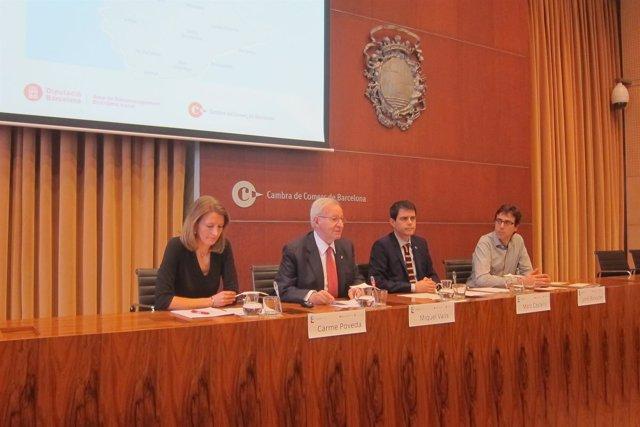 Carme Poveda, Miquel Valls (Cambra) Marc Castells, Jordi Boixader (Diputació)