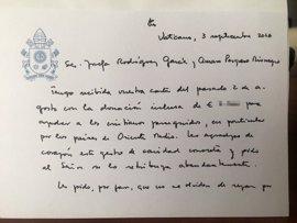 El Papa escribe a un matrimonio de Madrid para agradecerles su donativo en favor de los cristianos perseguidos