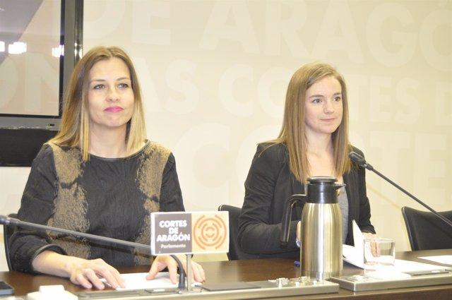 María Herrero y Lucía Guillén, diputadas del PAR en las Cortes de Aragón