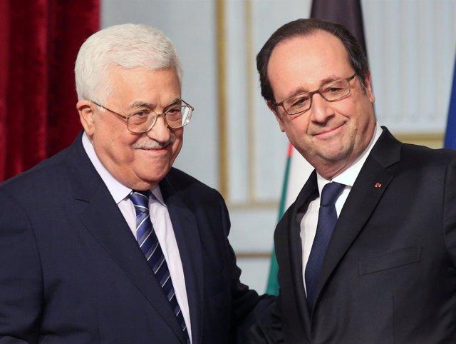 François Hollande y Mahmud Abbas
