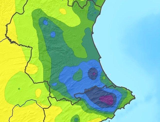 Precipitaciones acumuladas en el norte de Alicante y el sur de Valencia