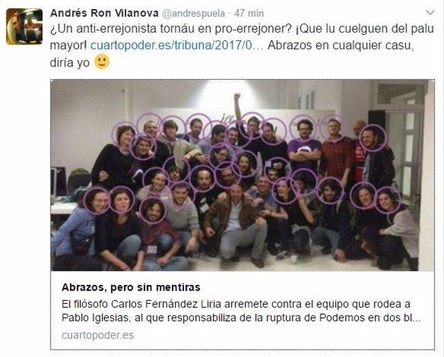 Captura de pantalla del tuit publicado por Vilanova.