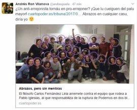 """Vilanova (Podemos) retira un tuit en el que pedía que colgaran del """"palu mayor"""" al filósofo Fernández Liria"""