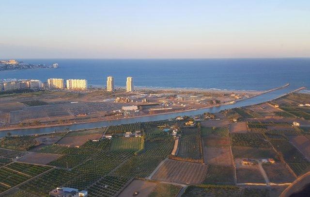 Vista aérea de la zona donde se instala el festival Medusa