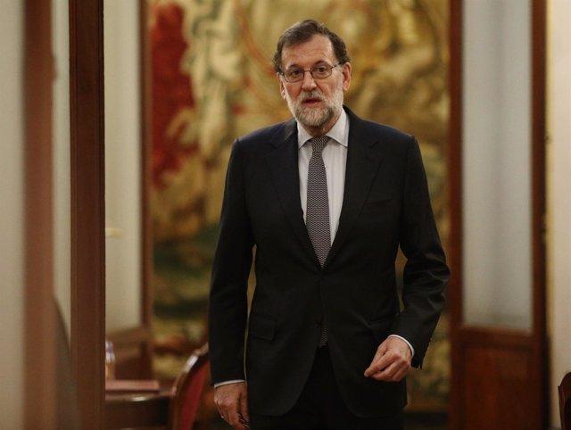 Mariano Rajoy llega al Congreso para la sesión de control