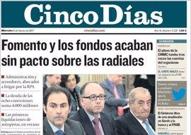 Las portadas de los periódicos económicos de hoy, miércoles 8 de febrero