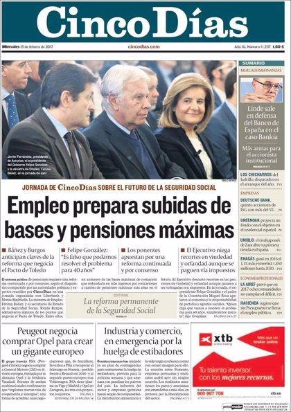 Las portadas de los periódicos económicos de hoy, miércoles 15 de febrero