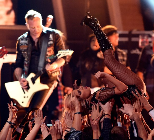 LOS ANGELES - FEBRUARY 12: (L-R) James Hetfiled of Metallica and Lady Gaga perfo