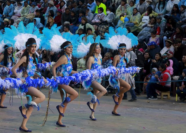 Dancers from Tobas Sud group perform during the carnival parade in Oruro, Februa