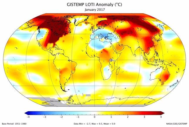 Anomalía de temperatura en enero