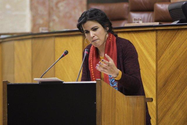 Teresa Rodríguez, en el pleno del Parlamento andaluz
