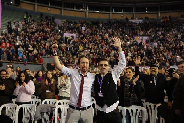 Iglesias i Monedero en el Congreso de Podem, Vistalegre II