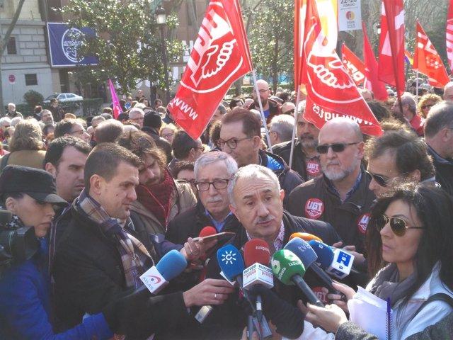 Los secretarios generales de UGT y CCOO, Pepe Álvarez e Ignacio Fernández Toxo.