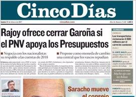 Las portadas de los periódicos económicos de hoy, lunes 20 de febrero