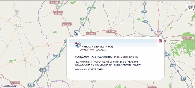Gráfico del corte de la A-62 en Alaejos