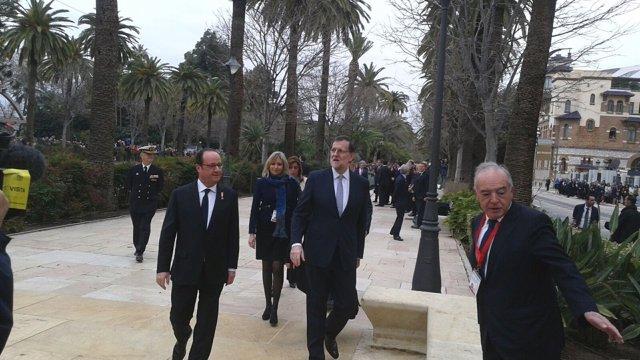 Rajoy y Hollande en Málaga en su Cumbre bilateral