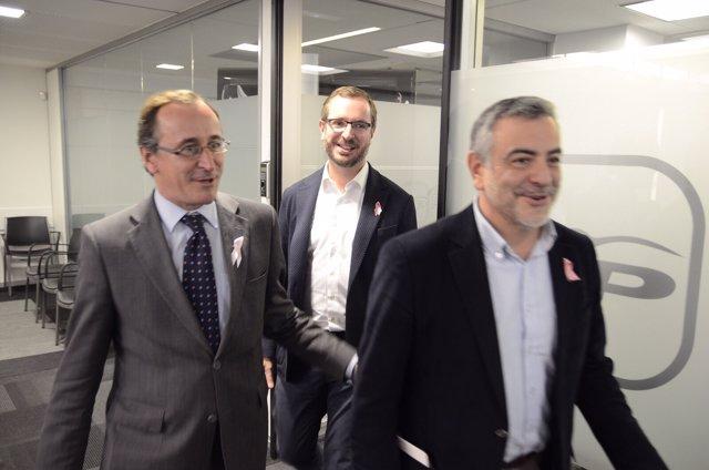 Javier de andrés acompañado de Alfonso Alonso y Javier maroto