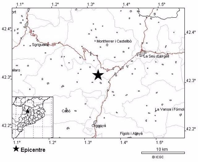 Epicentro del seísmo de 3,3 grados en Les Noves de Segre (Lleida)