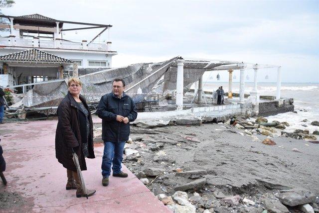 Heredia con portavoz psoe ayto malaga temporal baños del carmen febrero 2017