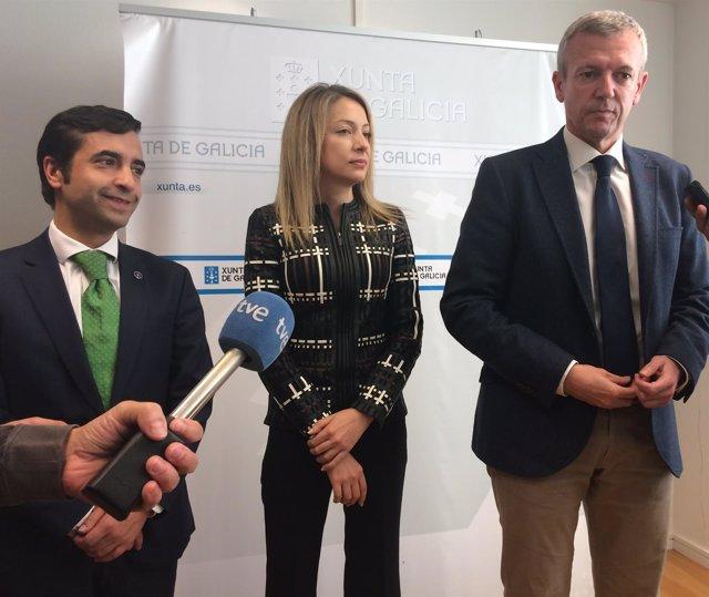 El vicepresidente de la Xunta, Alfonso Rueda, en declaraciones a los medios
