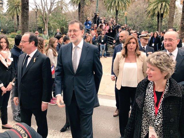 François Hollande, Mariano Rajoy y Susana Díaz antes de la cumbre en Málaga