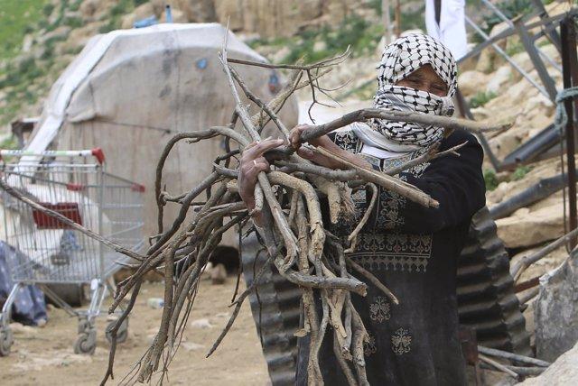 Una beduina palestina en el norte de Cisjordania