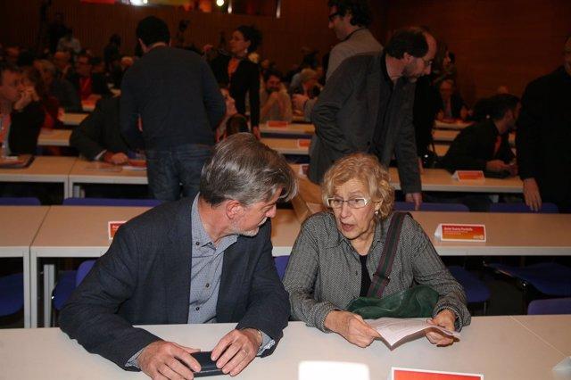 Pedro Santisteve y Manuela Carmena, en las jornadas municipalistas de Valencia
