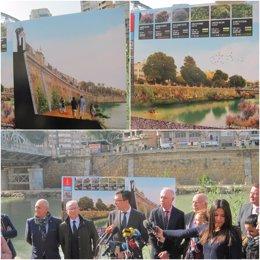 Imágenes del proyecto que se acometerá en la mota del río y de su presentación