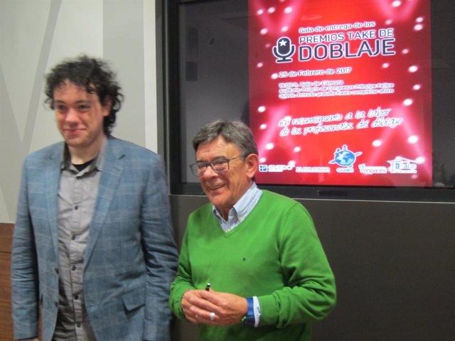 Roberto Sánchez Ramos y Miguel Martínez en la presenatción de los premios TAKE.