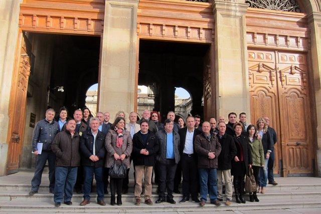 Miguel Moreno (c), junto a alcaldes y concejales del PP en la provincia.