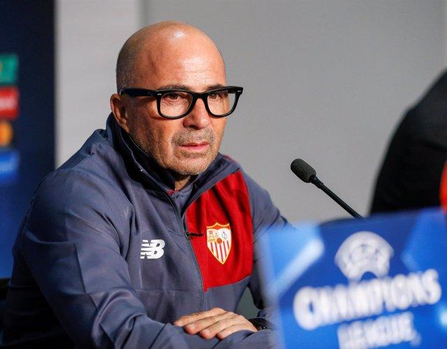 El entrenador del Sevilla FC, Jorge Sampaoli, en rueda de prensa de Champions