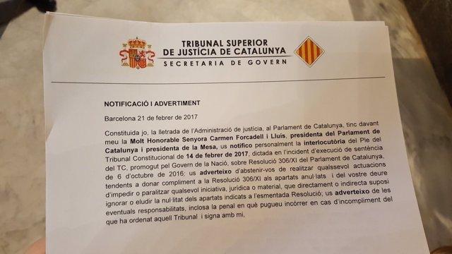 Última sentencia del TC que anula la resoluciones del Parlament