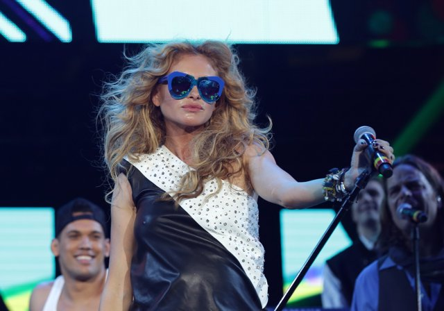 MIAMI. FL-DECEMBER 5: Paulina Rubio Performs during the the Grand Slam Party Lat