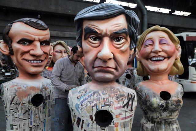 Figuras de Fillon, Le Pen y Macron para el carnaval de Niza