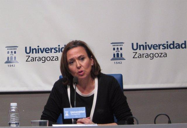 La consejera aragonesa Mayte Pérez, esta tarde en rueda de prensa