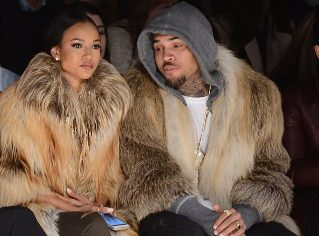 NEW YORK, NY - FEBRUARY 17:  Karrueche Tran (L) and Chris Brown attends the Mich