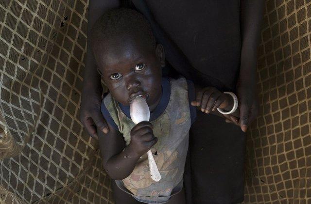 Niño en un campo de refugiados de Sudán del Sur