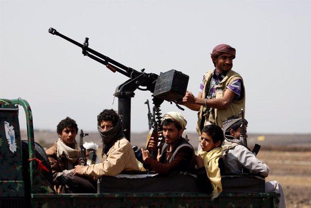 Milicianos huthis en Yemen