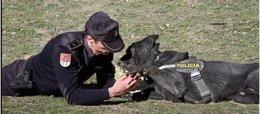 Policía con perro de trabajo policial