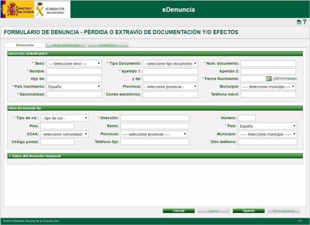 Aplicación 'eDenuncia' de la Guardia Civil.