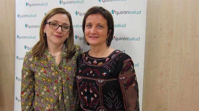 Elena Aguirre y Fina Escándil, en el Hospital Quirónsalud de Zaragoza