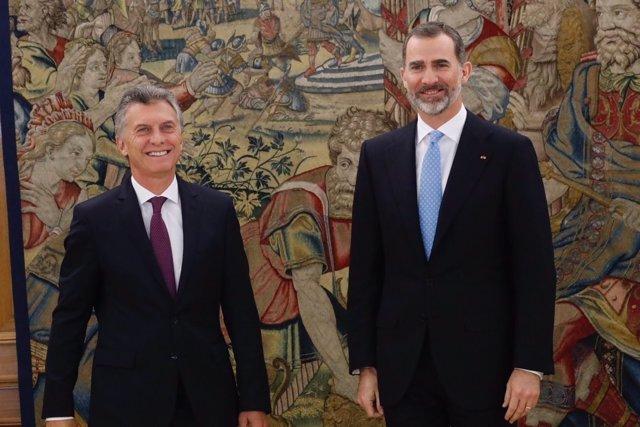 El Rey Felipe VI y el presidente Macri