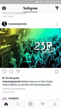 Anuncio de la macrofiesta que ensalza a Tejero en Granada