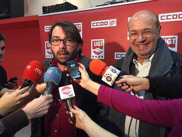 Camil Ros (UGT) y Joan Carles Gallego (CC.OO.)