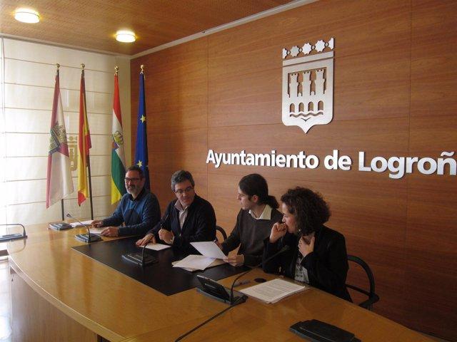 Los portavoces de la oposición municipal, en la rueda de prensa
