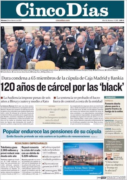Las portadas de los periódicos económicos de hoy, viernes 24 de febrero